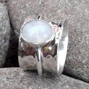 Moonstone 925 Sterling Silver Spinner Ring